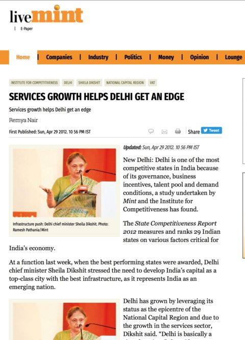 Services Growth Helps Delhi get an Edge