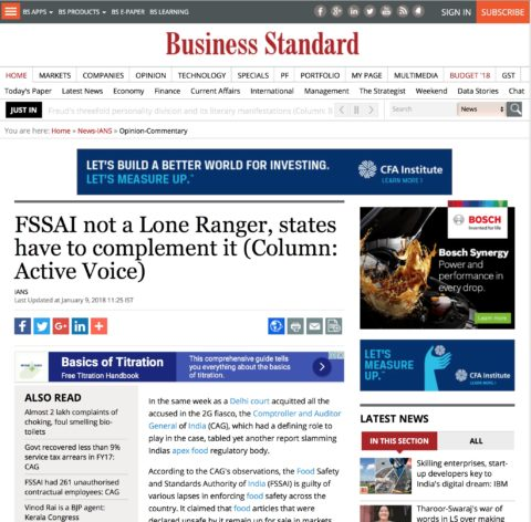 FSSAI not a Lone Ranger, states have to complement it