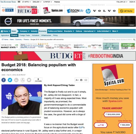 Budget 2018: Balancing populism with economics