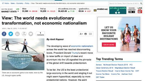 View: The world needs evolutionary transformation, not economic nationalism