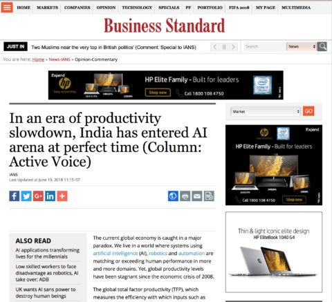 In an era of productivity slowdown, India has entered AI arena at perfect time