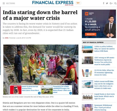 India staring down the barrel of a major water crisis
