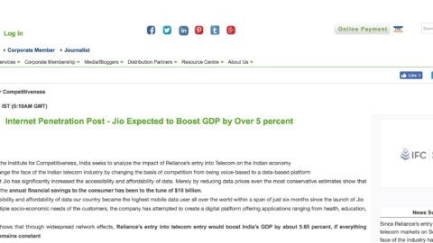 Internet Penetration Post – Jio Expected to Boost GDP by Over 5 percent