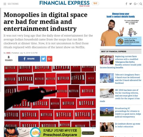 Monopolies in digital space are bad for media and entertainment industry