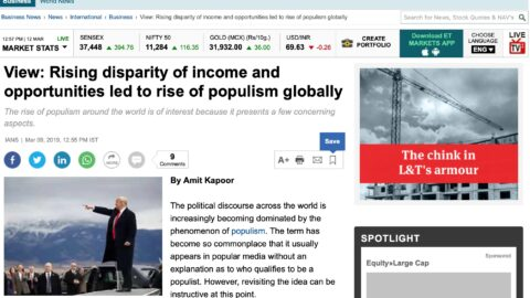 Rising disparity of income and opportunities led to rise of populism globally