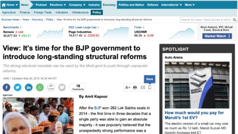 It's time for the BJP government to introduce long-standing structural reforms