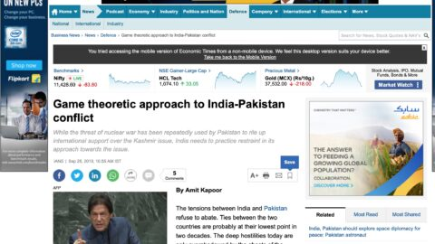 Game theoretic approach to India-Pakistan conflict