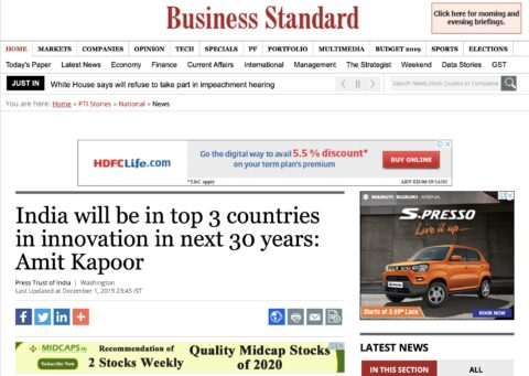 India will be in top 3 countries in innovation in next 30 years