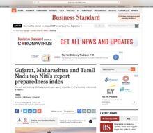 Gujarat, Maharashtra and Tamil Nadu top Niti's export preparedness Index