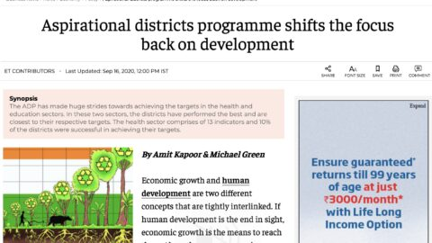 Aspirational Districts Programme shifts the focus back on development