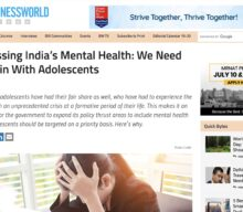 Addressing India's mental health: We need to begin with adolescents