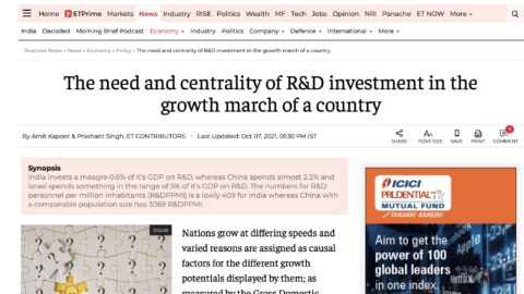 The need and centrality of R&D investment in the growth march of a country